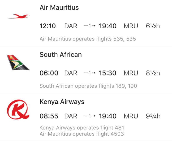 Port Louis Dar es Salaam Flights