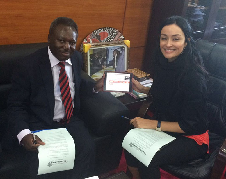Clifford Tandari Chief Executive of TIC and Virginia Cortavitarte Associate Editor at TanzaniaInvest.com