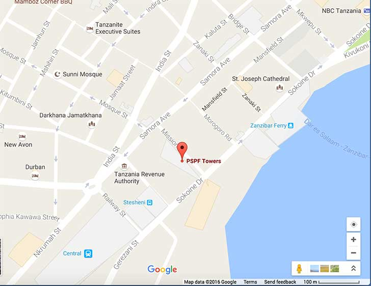 PSPF Towers Dar Es Salaam Location Map