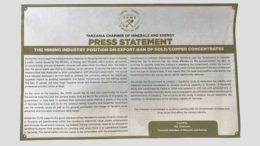 Tanzania Chamber Minerals Export ban satement