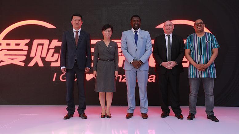 ICBC Bank Gang Sun with Chinese Ambassador Wang Ke Tanzania Minister of Tourism Hamisi Kigwangalla Stanbic CEO Ken Cockerill and Standard Bank Head, Group Card and Emerging Payments Lincoln Mali