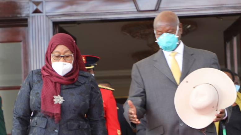 President of Tanzania Samia Suluhu Hassan and the President of Uganda Yoweri Kaguta Museveni in Entebbe