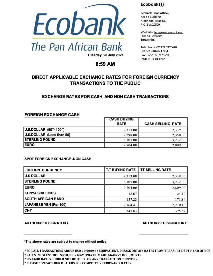 Ecobank Tanzania Exchange Rates 20JUL2021