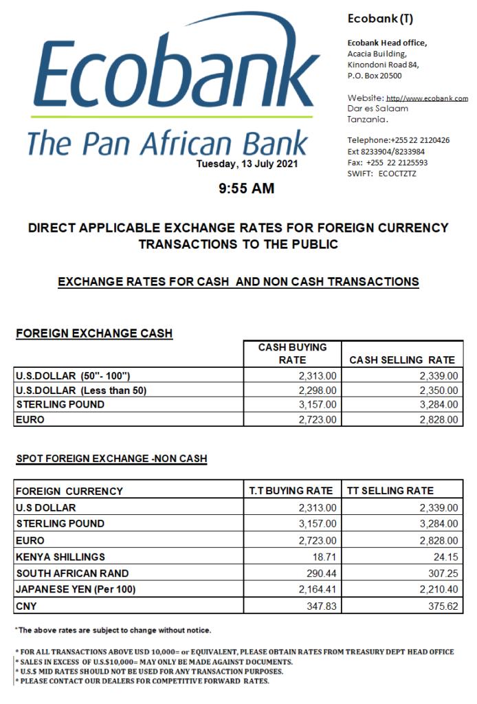 Ecobank Tanzania Forex Rates USD-TZS 13 July 2021