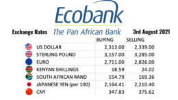 Ecobank Tanzania Exchange Rates 3 august 2021